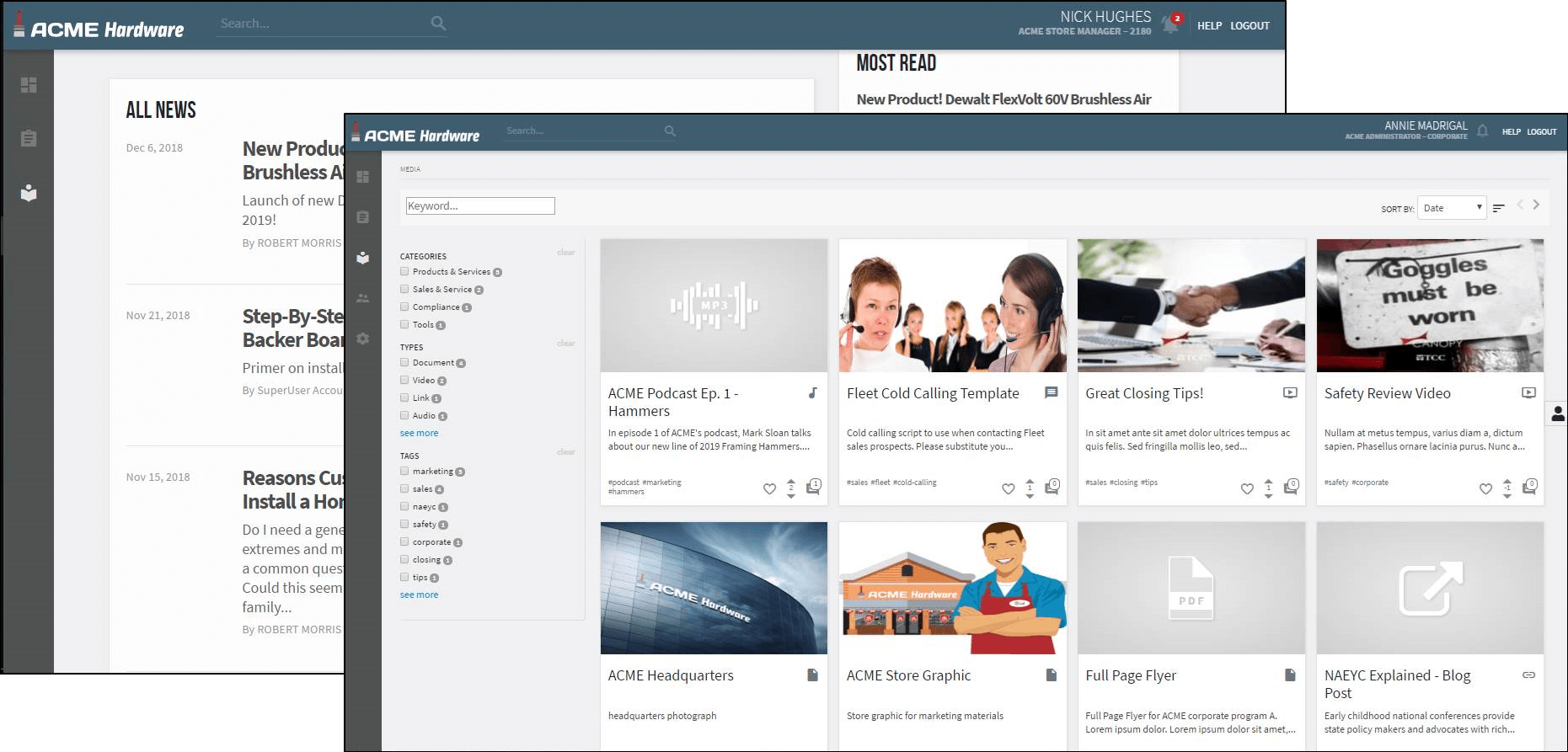screen shot of content management screen in Canopy